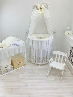 Круглая овальная детская кроватка