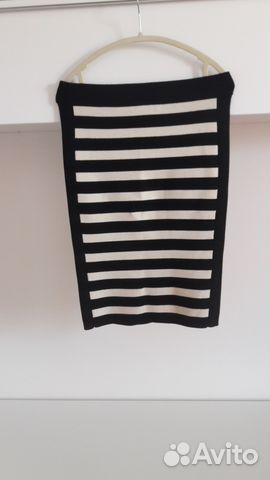 6d2c90223b3 Теплая трикотажная юбка- карандаш в полоску