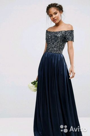cc5ff528948 Синее длинное вечернее платье maya