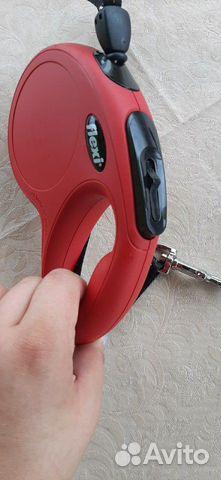 Поводок рулетка Flexi, 5метров, до 20 кг, красная  купить 5