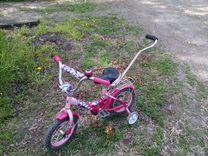 Детский велосипед с ручкой и доп. колесиками